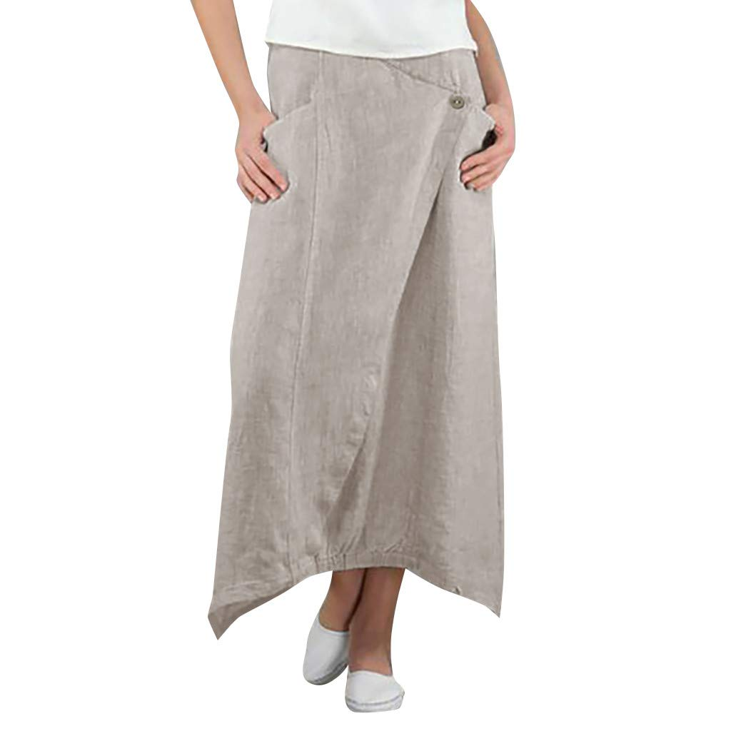 ℱLOVESOOℱ Women Ladies Cotton and Linen Midi Length Skirt Dress Fashion Solid Button Skirt Wild Leisure Skirt with Pockets Beige