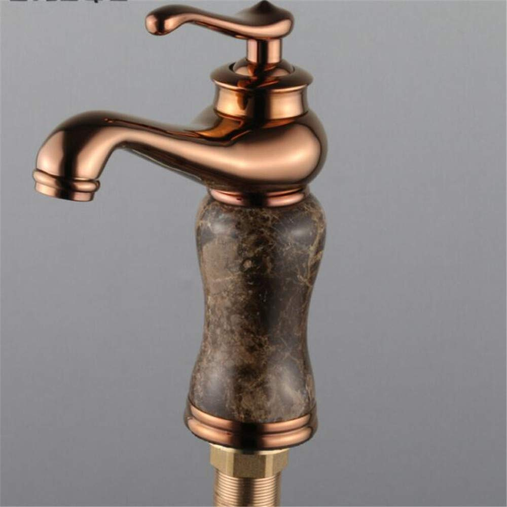 Basin Mixer Tap Copper Natural Jade Faucet Antique Hot and Cold pink gold Basin Faucet