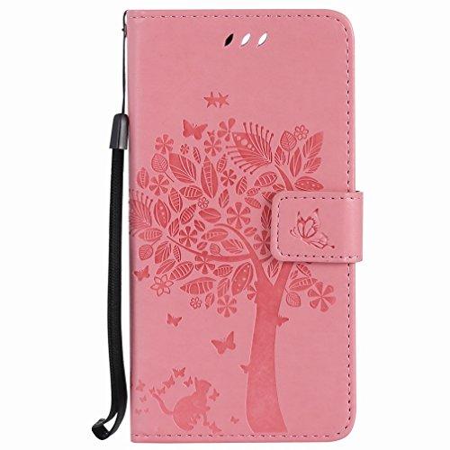 Yiizy Huawei Honor 8 Custodia Cover, Alberi Disegno Design Sottile Flip Portafoglio PU Pelle Cuoio Copertura Shell Case Slot Schede Cavalletto Stile Libro Bumper Protettivo Borsa (Rosa)