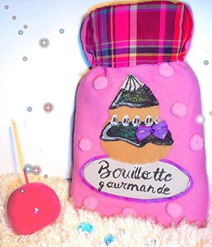 Jolie bouillotte eau originale rose avec housse pull pour femme et enfant
