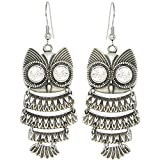 Nickel Free Articulated Owl Earrings, Swarovski Crystal, USA!, in Burnished Silver