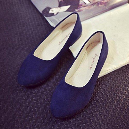 1289f3c2c2ce9 Ecurson Women Ladies Slip On All Match Solid Color Flat Shoes ...