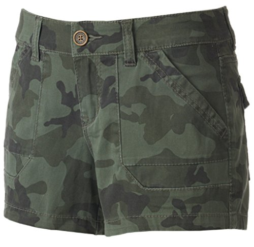 Unionbay Flat Front Shorts (Unionbay© Junior's Drew Stretch Twill Shortie Shorts (5, Serpent))