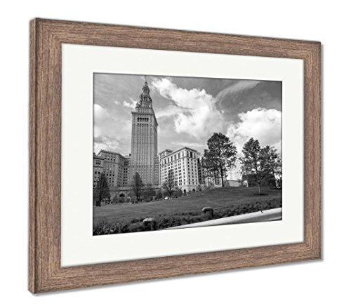 Ashley Framed Prints Clevelands Terminal Tower Stands Tall Over The Newly Renovated Public Square, Wall Art Home Decoration, Black/White, 26x30 (frame size), Rustic Barn Wood Frame, AG6363169