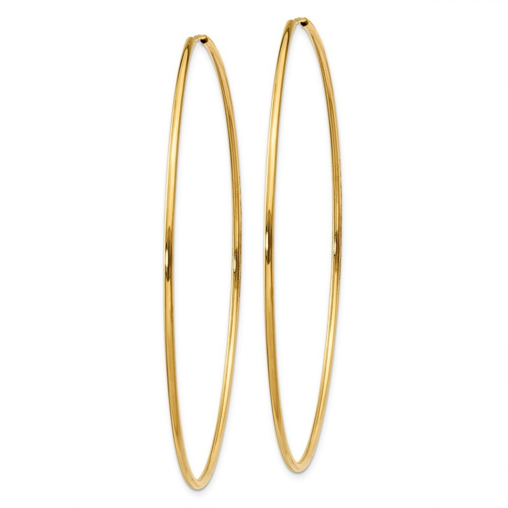 14K Yellow Gold Polished 58mm Round Endless Hoop Earrings