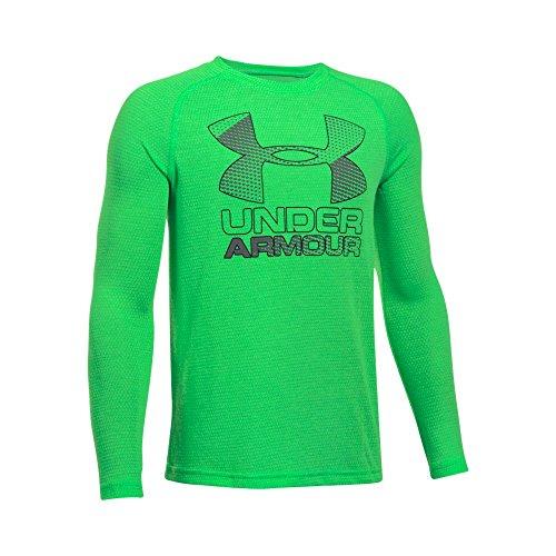 Under Armour Boys' Hybrid Big Logo Long Sleeve T-Shirt, Lime Twist/Graphite, Youth X-Large