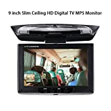 Car Stereo Player MP5 with 9-Inch Screen Slim Ceiling HD Digital TV MP5 Monitor Flip Down Roof Mount Monitor Audio