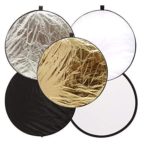 Round 24-inch / 60cm 5-in-1 Portable Collapsible Multi Disc Light Reflector Photography with Bag for Studio or any Photography Situation-Silver, Gold, White, Translucent and Black by yanan