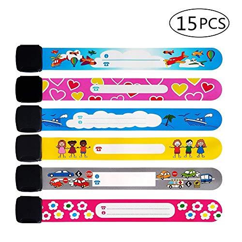 15 PCS ID Wristband Emergency Bracelet for Kids, Safety Waterproof Alert ID Bands for Identification, Adjustable Safety Wristbandsfor Babies ToddlersBoys Girls (Random Color)