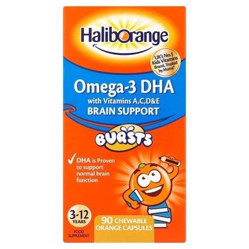 Seven Seas Haliborange Kids Omega-3 with Vitamins 90 Orange Chewable Fruit Burst Capsules (Haliborange Vitamin)