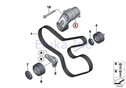 amazon com bmw genuine drive belt tensioner w pulley alternator Prius V Belt Diagram bmw genuine drive belt tensioner w pulley alternator a c power steering belt x5 35ix x6 35ix 740i 740li 740lix 640i 640ix 535i 535ix 535i 535ix 535i