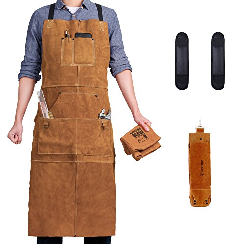 QeeLink Leather Welding Apron - Heat & Flame-Resistant Work Apron with 6 Pockets, 42'' Extra Large & Cross Back Long Strap, Adjustable M to XXXL Aprons for Men & Women (Brown - Deluxe Edition) by QeeLink