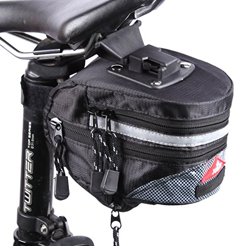 Bike Bag Under Seat 6 Inch Large Capacity Bicycle Strap on Waterproof Expabdable Bike Saddle Bag, Road Bike Wedge rear Bag