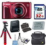 Canon Powershot SX720 HS 20.3MP Red Camera with 32GB High Speed Memory Card + Deluxe Camera Case + Flexible Spider Tripod + Starter Kit & Deluxe Accessory Bundle