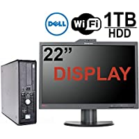 Dell Optiplex 760 Desktop Computer Bundle, Intel Core 2 Duo 2.66GHz CPU, 4GB Memory,New 1TB Hard Drive, 22 LED Monitor Built in Webcam, WiFi, Windows 7 Pro, (Certified Refurbished)