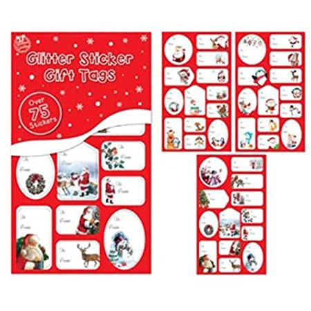 over 75 red and green foil sticker christmas gift tags labels