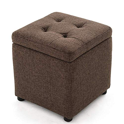 GQZC Shoe Bench stools Storage Ottoman Chair Stool Upholstered Footstool Linen Square Pouffe Chair Multifunction with Removable Cover (Color : Red Palm Burlap, Size : 40 40 40cm)