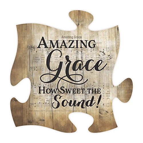 Amazing Grace Sheet Music Design 12 x 12 Inch Wood Puzzle Piece Wall Plaque by P Graham Dunn