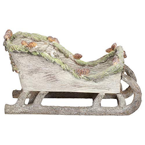 Creative Co-op Pinecone Sleigh with Birds Natural Grey 12 inch Resin Stone Christmas Figurine
