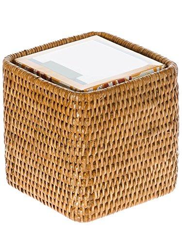 KOUBOO 1030055 La Jolla Rattan Square Tissue Box Cover, 5.5'' x 5.5'' x 5.75'', Honey Brown