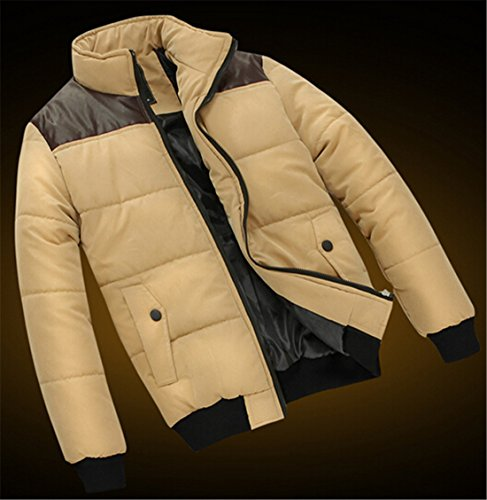 Coat Casual Down Stitching Pocket Mens Jacket Khaki EKU Zipper Leather xxl qxF8Y5