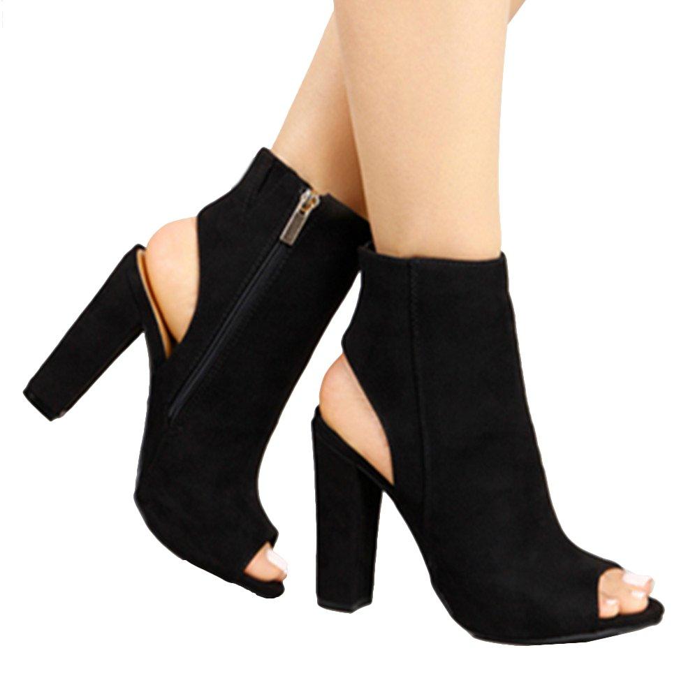 Huiyuzhi Womens Zip up Cutout Chunky Stacked Heels Ankle Booties (7 B(M) US, Black)