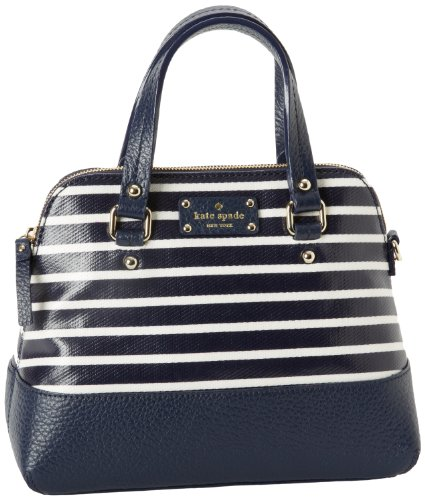 Kate Spade New York Grove Court Stripe-Maise  Satchel,Navy/Cream,One Size, Bags Central