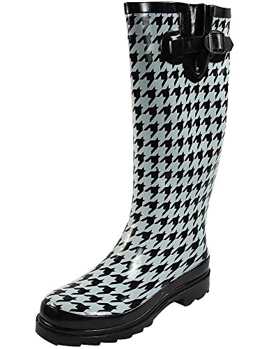 Sunville Women's Ditsy Dots Rubber Rainboot and Gardenboot,8 B(M) US,Print