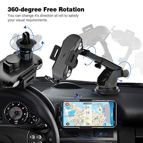 Automatic Clamping Qi Wireless Car Charger, SANCEON 10W/7.5W Fast Charger Car Mount Phone Holder for Air Vent Dashboard Compatible with iPhone Xs/Xs Max/XR/X/8/8Plus, Samsung Galaxy S10/S10+/S9/S9+/S8 by SANCEON (Image #2)