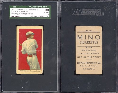 1911 mino cigarettes t216 (Baseball) Card# 68 Joe Tinker of the Chicago Good Condition ()