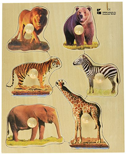 Wild Animal Puzzle - Edushape Large Knob Wild Animal Puzzle, 5 Piece