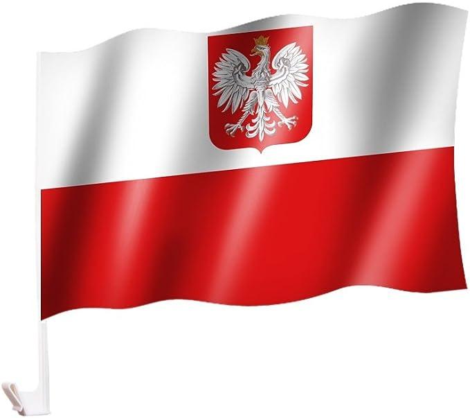 Autoflagge Autofahne Polen Mit Wappen Adler Auto