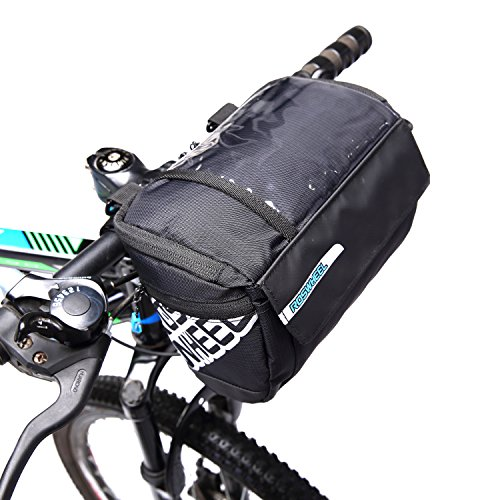 WEANAS Waterproof Cycling Bike Bicycle Handlebar Zipped Bag Front Basket with Clear Map Pocket Phone Holder (Handlebar Map Holder)