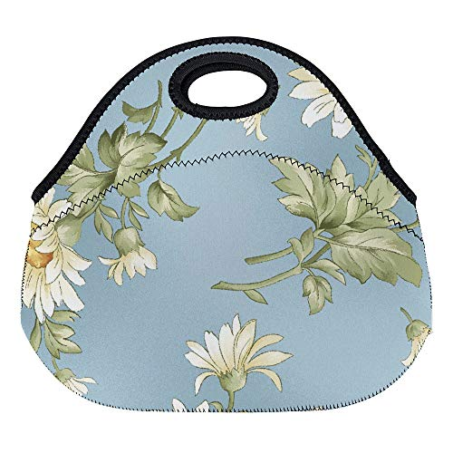 (DKISEE Tossed Daisies Large & Thick Neoprene Lunch Bags Insulated Lunch Tote Bags Cooler Warm Warm Pouch for Women Teens Girls Kids Adults)