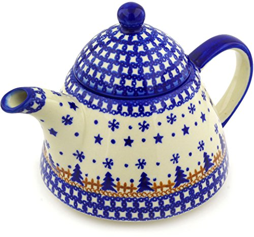 Polish Pottery 38 oz Tea or Coffee Pot (Winter Snow Theme) + Certificate of Authenticity (Pot 38 Coffee Oz)