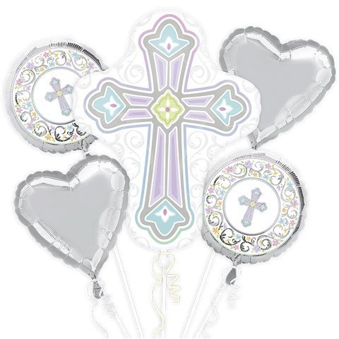 Anagram Blessed Day Cross Baptism Bouquet Of Balloons -
