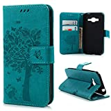 J3 Case, Express Prime Case, Amp Prime Case, YOKIRIN Embossing Tree Wallet Case Flip PU Leather Slim Folio Book Cover with Card Slots Cash Clip Kickstand Magnetic Closure Cover Skin - Blue