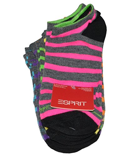 esprit-womens-sport-socks-low-no-show-multicolor-striped-pack-of-6