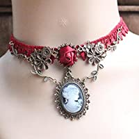 Elegant Cameo Red Rose Lace Collar Chocker Necklace Pendant Jewelry Women Gift