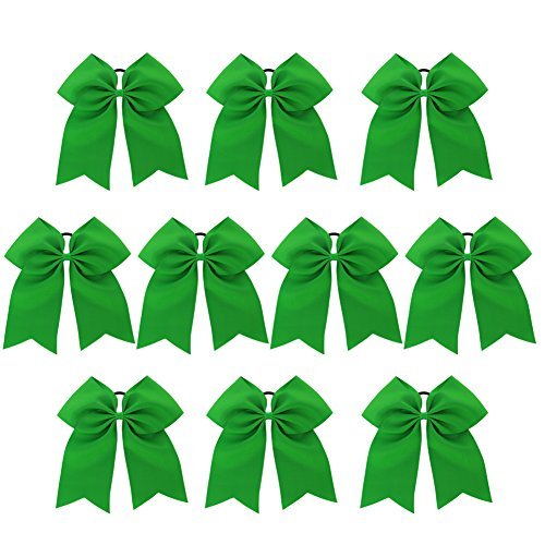 Chiffon Big Cheer Bows With Ponytail Holder Cheerleading Hair Ties Elastic Head Loop For Teens Babies Gifts 10Piece Green