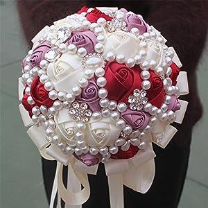 USIX Handcraft Popular Satin Rose Rhinestone Brooch Flower Pearl Bridal Holding Wedding Bouquet Wedding Flower Arrangements Bridesmaid Bouquet 2