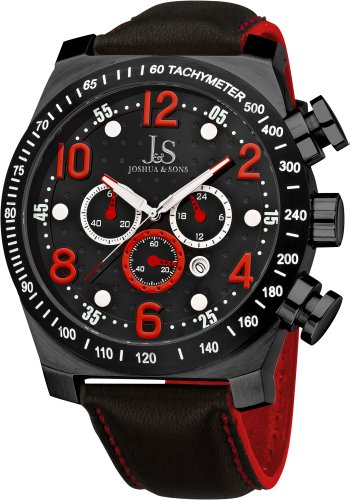 Joshua & Sons Men's JS714RD Chronograph Stainless Steel Sports (World Timer Stainless Steel Chronograph)