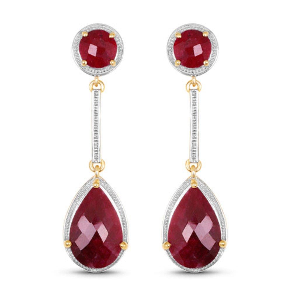 Genuine Pears Ruby Earrings in Sterling Silver