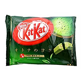 Japanese Kit Kat Matcha Green Tea Flavor | Sweetness for Adults, mini 12 pcs (Japan Import) 60 Famous Kit Kat Matcha Green Tea from Japan 12 mini bars individually wrapped Made in Japan