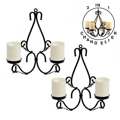 3 IN 1 Lighting Chandelier, Metal Wall Sconce Set of 2, Table Centerpiece for Indoor or Outdoor, Candles Included, Black (Sconces Candles Wall Outdoor For)
