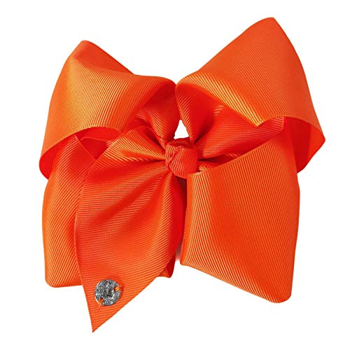 (JOJO Siwa Tangerine Orange Bow, 8 Inch Wide Metal Salon Boutique Clip Barrette Cheer Ribbon Layered Fabric Handmade Bows Easy to Wear Clips with Signature Pin Beauty & Personal Care)
