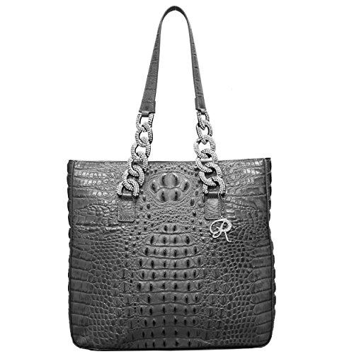 Raviani Gray Crocodile Embossed Top Grain Cowhide Genuine Leather Shoulder Handbag W/Crystal Chain