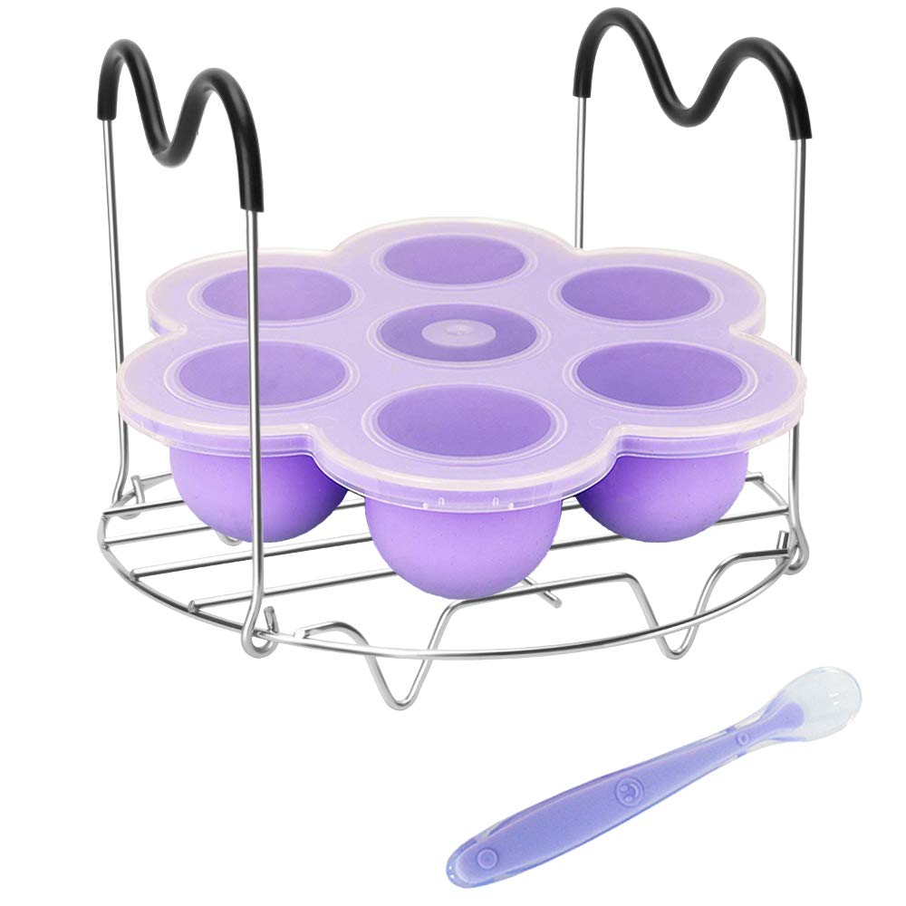Pressure Cooker Accessories with Silicone Egg Bites Mold and Steamer Rack Trivet with Heat Resistant Handles for Instant Pot Accessories 6 Qt 8 Quart, 2 Pcs with 1 Bonus Spoon (Purple)