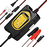 WonVon 1.5A 6V/12V Battery Trickle Charger/Maintainer with Cable Clamps for Car Motorcycles RVs ATVs Lawn Mower SLA GEL AGM SEALED WET CELL Normal Lead Acid Batteries Float Charging