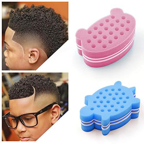RioRand Magic Barber Brush Sponge Curl Twist Coil Animal-Shape Hair Sponge for Kids Women Men Pink Bear-Shape,Blue Tortoise-Shape